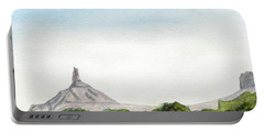 Distant Chimney Rock Near Scottsbluff Nebraska Portable Battery Charger by R Kyllo