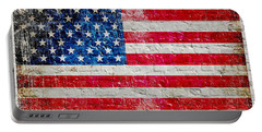 Distressed American Flag On Old Brick Wall - Horizontal Portable Battery Charger