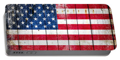 Distressed American Flag On Wood Planks - Horizontal Portable Battery Charger