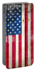 Distressed American Flag On Wood - Vertical Portable Battery Charger