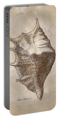 Portable Battery Charger featuring the drawing Distressed Antique Nautical Seashell 1  by Karen Whitworth