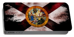 Distressed Florida Flag On Black Portable Battery Charger