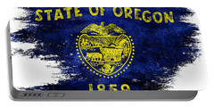 Distressed Oregon Flag Portable Battery Charger by Jon Neidert