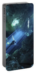 Diver Silhouetted In Sunrays Of Cenote Portable Battery Charger by Karen Doody