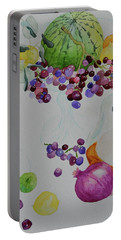 Portable Battery Charger featuring the painting Django's Grapes by Beverley Harper Tinsley