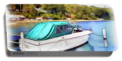 Portable Battery Charger featuring the photograph Do-00276 Green Boat In Killcare by Digital Oil