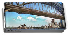 Portable Battery Charger featuring the photograph Do-00284 Sydney Harbour Bridge And Opera House by Digital Oil