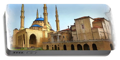 Portable Battery Charger featuring the photograph Do-00362al Amin Mosque And St George Maronite Cathedral by Digital Oil