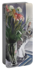 Do You See Me? Pet Portrait In Watercolor .modern Cat Art With Flowers  Portable Battery Charger