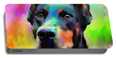 Doberman Pincher Dog Portrait Portable Battery Charger