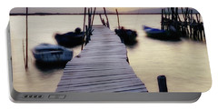 Dock At Sunset Portable Battery Charger by Marion McCristall