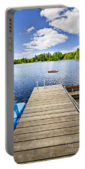 Dock On Lake In Summer Cottage Country Portable Battery Charger