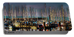 Docked Sailboats Portable Battery Charger by David Patterson