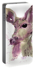 Portable Battery Charger featuring the painting Doe by Dawn Derman