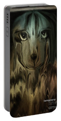 Dog Art  Sad Eyes Portable Battery Charger by Sherri's Of Palm Springs
