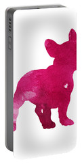 French Bulldog, Dog Art Print, Raspberry, Dog Silhouette, Pink Watercolor Painting Portable Battery Charger