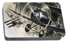 Dog Fight Between British Biplanes And A German Triplane Portable Battery Charger by Wilf Hardy