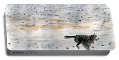 Dog On Beach Portable Battery Charger by Chriss Pagani