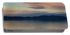 Dog Silhouette On The Sunset Lake Portable Battery Charger