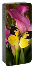 Dogface Butterfly On Pink Calla Lily  Portable Battery Charger