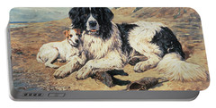 Dogs Watching Bathers Portable Battery Charger