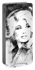 Dolly Parton Bw Portrait Portable Battery Charger by Mihaela Pater