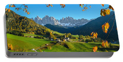 Dolomites Mountain Village In Autumn In Italy Portable Battery Charger