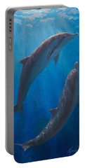Dolphin Dance - Underwater Whales - Ocean Art - Coastal Decor Portable Battery Charger