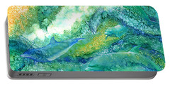 Portable Battery Charger featuring the mixed media Dolphin Waves 2 by Carol Cavalaris
