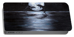 Dolphins Dancing Full Moon Portable Battery Charger by Bernadette Krupa