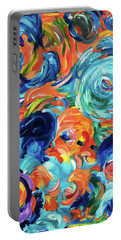 Dolphins Playing In Peonies Portable Battery Charger