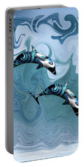 Dolphins Playing In The Waves Portable Battery Charger