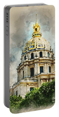 Portable Battery Charger featuring the digital art Dome Des Invalides by Kai Saarto
