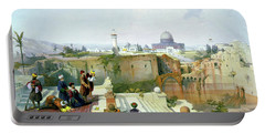 Dome Of The Rock In The Background Portable Battery Charger by Munir Alawi