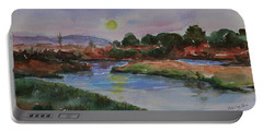 Portable Battery Charger featuring the painting Don Edwards San Francisco Bay National Wildlife Refuge Landscape 1 by Xueling Zou