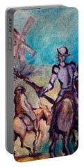 Don Quixote With Windmill Portable Battery Charger