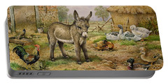 Donkey And Farmyard Fowl  Portable Battery Charger by Carl Donner