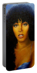 Portable Battery Charger featuring the painting Donna Summers by Loxi Sibley