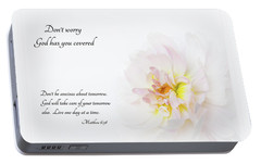 Portable Battery Charger featuring the photograph Don't Worry With Verse by Mary Jo Allen