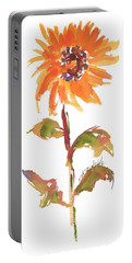 Door Keeper Sunflower Watercolor Painting By Kmcelwaine Portable Battery Charger