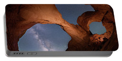 Portable Battery Charger featuring the digital art Double Arch And The Milky Way - Arches National Park - Moab, Utah 2 by OLena Art Brand