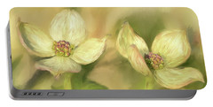 Portable Battery Charger featuring the digital art Double Dogwood Blossoms In Evening Light by Lois Bryan