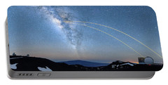 Double Lasers With The Milky Way Panorama Portable Battery Charger