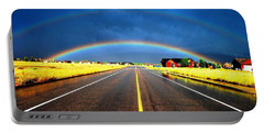 Double Rainbow Over A Road Portable Battery Charger