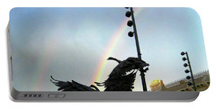 Double Rainbow Over Old Town Square Portable Battery Charger