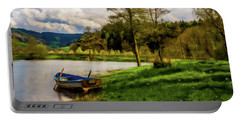 Portable Battery Charger featuring the photograph Down By The Lake Photodigitalpainting by David Dehner