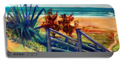 Portable Battery Charger featuring the painting Down The Stairs To The Beach by Winsome Gunning