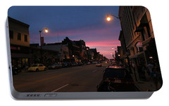Portable Battery Charger featuring the photograph Downtown Racine At Dusk by Mark Czerniec