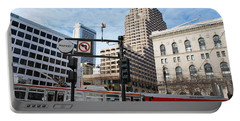 Downtown San Francisco - Market Street Buses Portable Battery Charger by Matt Harang
