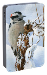 Downy Woodpecker  Portable Battery Charger by Ken Everett
